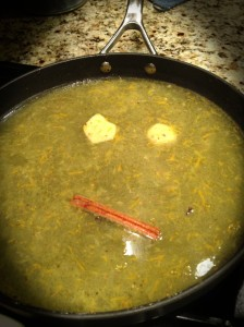 The components of the sauce made a face mid-cooking