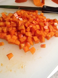 persimmons, cubed.