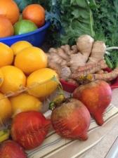 golden beets, meyer lemons, ginger and turmeric root, kale.