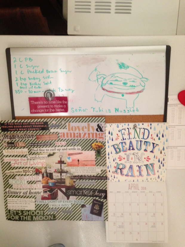 My vision board, and an amazing drawing of Toby on a white board that has been there for almost 2 years. Also a peanut butter cookie recipe.