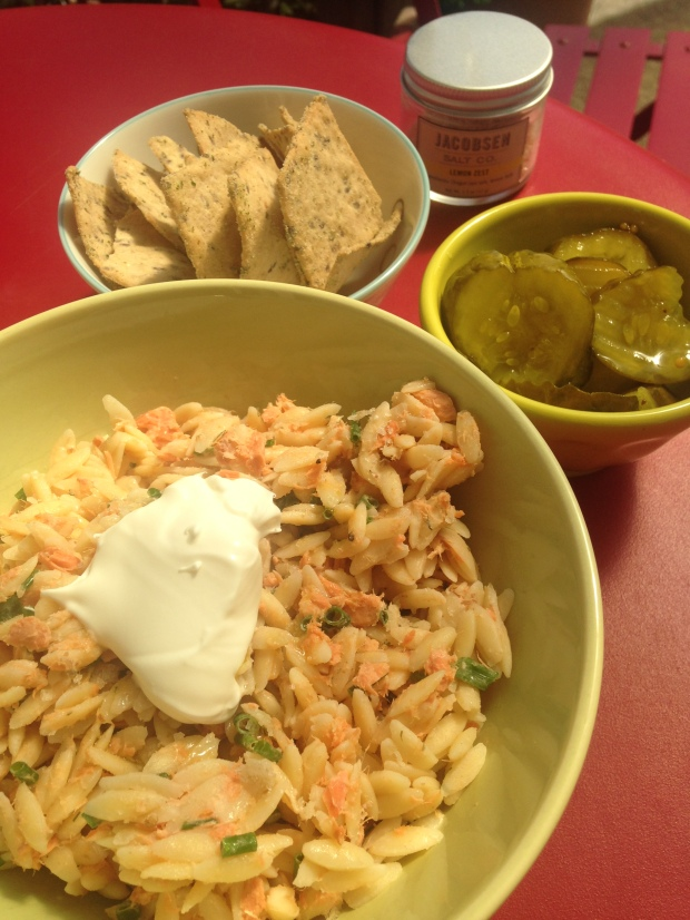 orzo salad with smoked salmon and lemon
