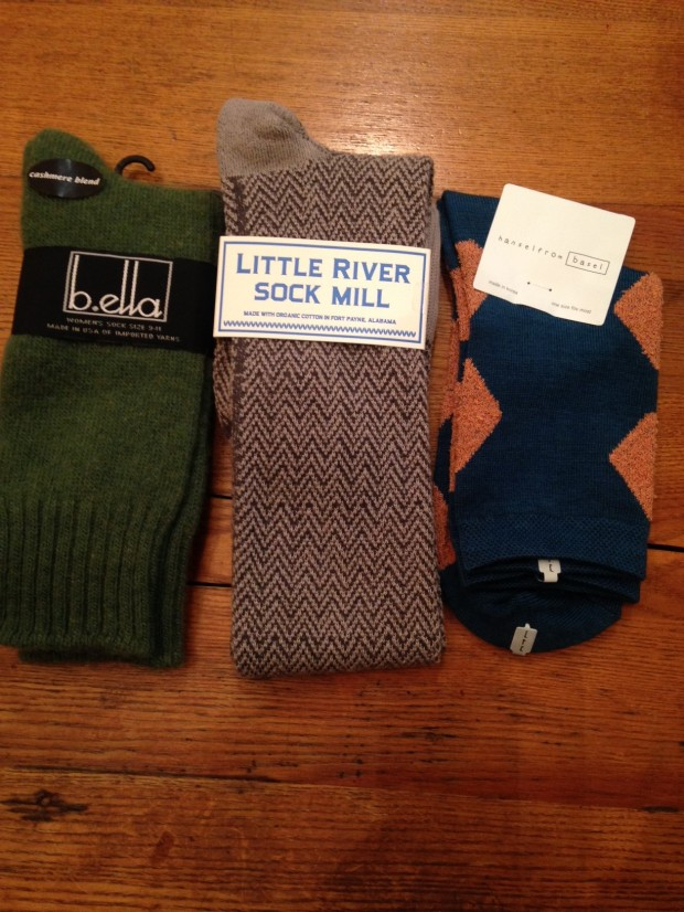 Great socks, fun colors. Once again available locally at my home away from home, Mes Amies