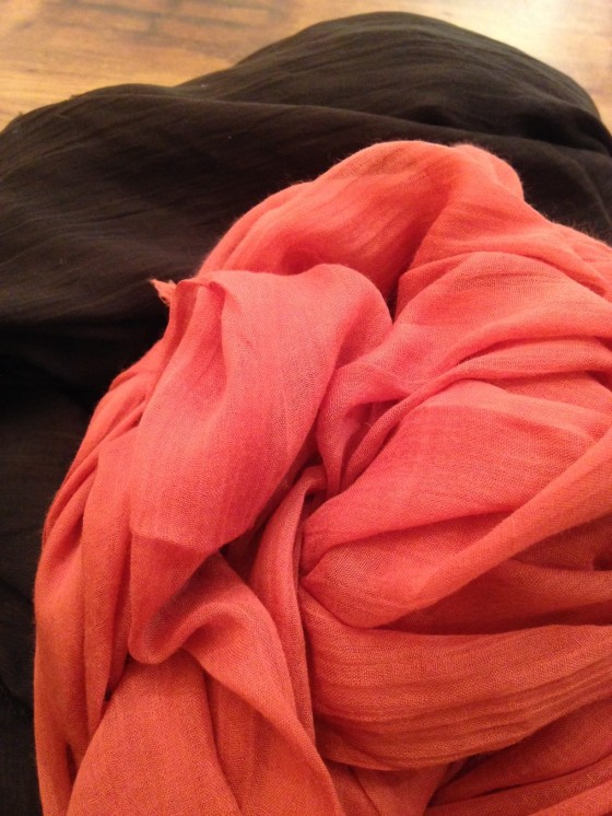 Silk & Cashmere blend scarves from Blue Pacific. Available in great fall colors at Mes Amies.