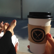coffee, sun, feet