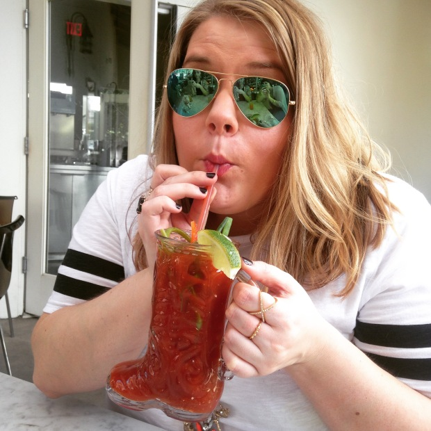 coco with her bloody mary boot