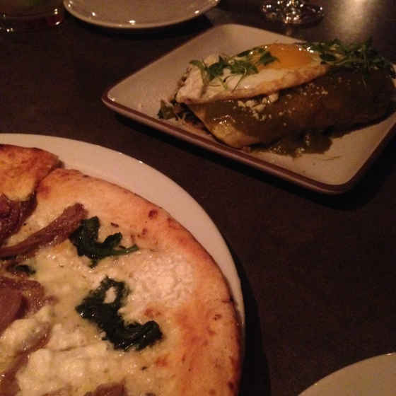 duck confit pizza and veggie enchiladas